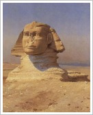 Great Sphinx of Giza - a lion's body and a pharaoh's head, painting from 1798