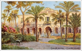 Historic postcard of the Luxor Hotel based on a painting, Luxor