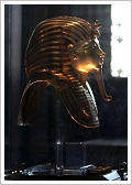 Intact golden mask of King Tutankhamun's mummy in the Egyptian Museum, Cairo