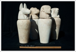 Mortuary Temple of Amenhotep II: Four canopic jars, (c) CEFB