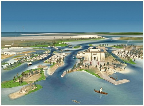 Heracleion: Rekcnstruktion of the city, (c) Franck Goddio/Hilti Foundation, graphics: Yann Bernard
