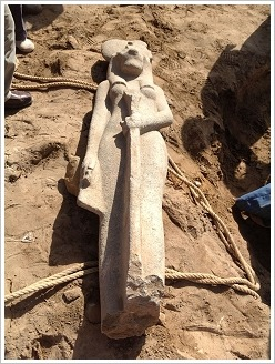 Newly discovered Sekhmet statue at Mut Temple, Luxor East Bank, (c) ARCE