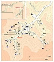 Map of the Eastern Valley of the Kings, Luxor West Bank - the arrow marks the site of the find, (c) Map: KV5.de