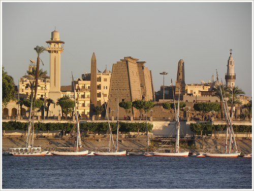View from the Nile onto Luxor Temple, Luxor Eastbank